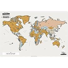Enjoy Maps World Mapa Diseñada con Tinta Rascable, Papel Estucado, Multicolor, 65 x 45 cm