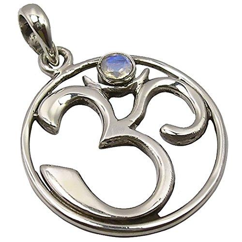 Unique exklusiver Goa Ketten Anhänger echter Mondstein eingefasst in 925 Sterling Silber nickelfrei in Juweliers- Qualität (Antike Sterling Silber)