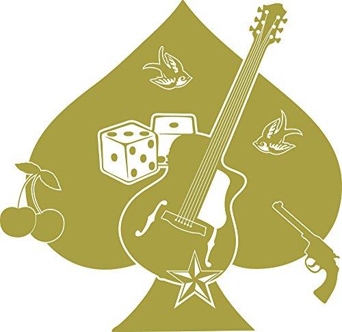 GRAZDesign Wandtattoo Rockstar Gitarre und Würfel - Wandsticker Rockabilly - Wohnzimmer Deko Pik Kirsche Schwalbe / 59x57cm / 826 Oasis - 826 Kirsche