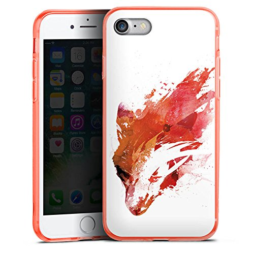 Apple iPhone 7 Silikon Hülle Case Schutzhülle Fuchs Street Art Wasserfarbe Silikon Colour Case neon-orange