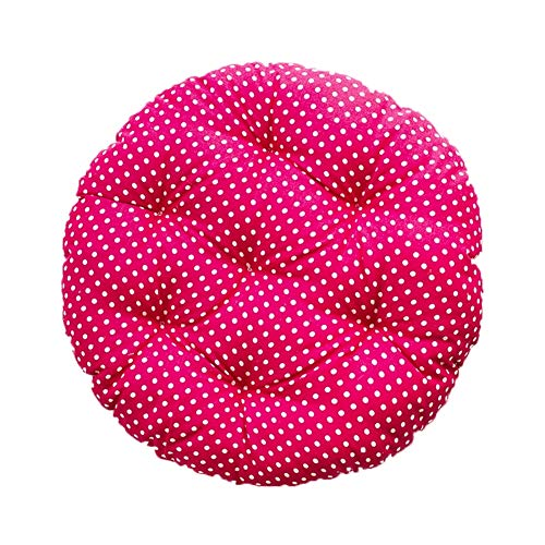 FOKIT Tatami Chair Seat Pads, Chair Cushions Seat Cushions Polka Dot Spots Padded Good Resilience Breathence Linen Student Round,Pink,30cm -