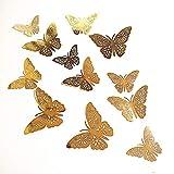 New 12Gold 3D Schmetterling Wand Aufkleber art Aufkleber Zuhause Zimmer Dekorationen Decor (Gold–4)