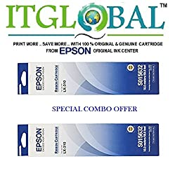 Epson LX 310 [Pack of 2] Original Ribbon Cartridge--Special ITGLOBAL Combo With Scratch & Win Reward Offer - From ITGLOBAL