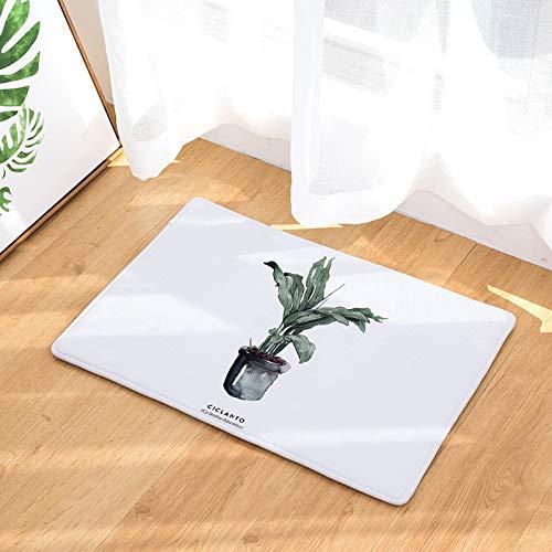 YIWAN Topf Blatt Druck Fuß Pad Bad Küche Bad Streifen saugfähige Matte Topf Blätter 02 50x80cm