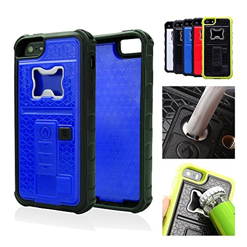 ZVE multifunzione con accendisigari & Bottle Opener birra Cover per IPhone 5/5S, Silicone, blu, Iphone 5 5s