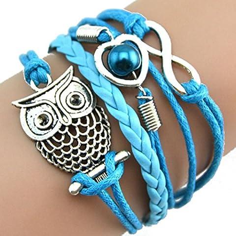 Mingfa.y Multilayer Charm Leather Bracelet Lovely Infinity Owl Pearl Friendship Cuff Bracelets for Women Girls (Blue)