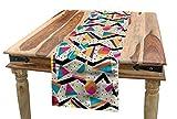 ABAKUHAUS Jahrgang Tischläufer, 80er Memphis Geometrisch, Esszimmer Küche Rechteckiger Dekorativer Tischläufer, 40 x 180 cm, Mehrfarbig