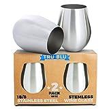 Edelstahl Weingläser - 2er Set mit Großen & Eleganten Stiellosen Weinkelchen/Stemless Goblets (500 ml) - Unzerbrechliche Trinkbecher aus Metall