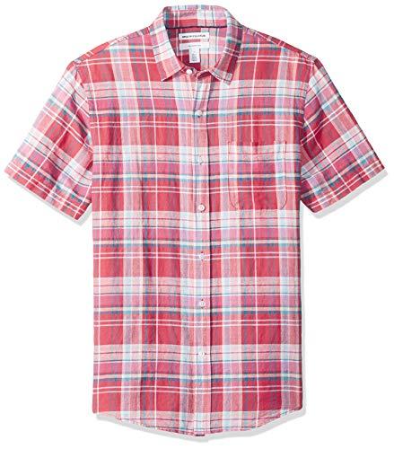 Amazon Essentials Slim-Fit Short-Sleeve Stripe Linen button-down-shirts, Red Plaid, US S (EU S)