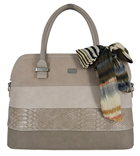 David Jones - Damen Bugatti Henkeltasche - Ladies Bowling Bag Multicolor Streifen Schultertasche - Nubuck Croco Snake Starre Kunst Leder Frau Tasche - Scarf Elegant Classic Satchel Style - Taupe Braun (Braun Leder Bag Patchwork)