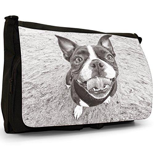 Boston Terrier Boston Bull Bosso–Borsa Tracolla Tela Nera Grande Scuola/Borsa Per Laptop Smiling Happy Boston Terrier