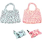 Set of 2 Dragonfly Design Clip Bags - Folding Reusable Tote Shopping Bag