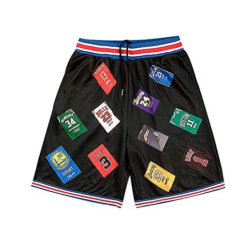 Jungen Shorts Abgeschnitten (SDSPORT Herren Basketball Jersey Hose Sport Shorts Schwarz Stickerei Training Wettbewerb Abgeschnitten Hose Für Jungen Und Mädchen (M-3XL))