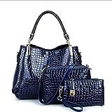 LXYIUN PU Leder Handtasche,Mode Dreiteiliger Anzug Handtasche Diagonales Paket Kupplung Krokodil-Drucktasche,Blue