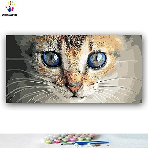 KYKDY DIY Farbgebung Bilder nach Zahlen mit Farben Katze Blauwal Eindruck Bild Zeichnung Malen nach Zahlen gerahmt Home, 4049,50x100 kein Rahmen - Eindruck Gerahmt