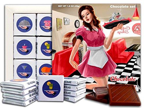 DA SCHOKOLADEN Süßigkeiten Souvenir SCHOKOLADE FÜR KELLNER Zustand Schokolade Geschenk Set 13x13cm 1 Kasten (Stil der 50er Jahre)