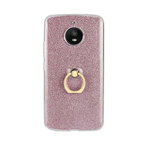 EKINHUI Case Cover Soft Flexible TPU Back Cover Case Shockproof Schutzhülle mit Bling Glitter Sparkles und Kickstand für MOTO E4 Plus ( Color : Pink ) Pink