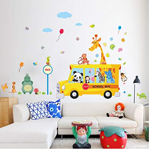 LZRLZR Giraffe Monkey Panda Animals Go to School by Bus Wall Decals for Kids Room Home Wall Art Decor Posters DIY Removeable Stickers (Go Go School Bus)