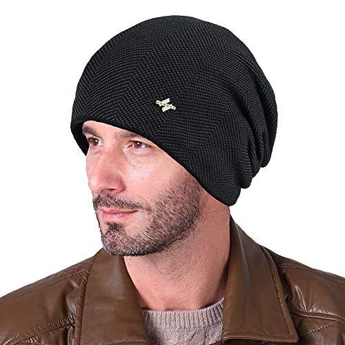 LFEILONG Herren warm Plus Fleece Plus Samt Strickmütze Outdoor Kopfbedeckung schwarz Code