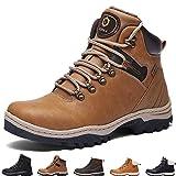 SIXSPACE Hombre Botines Zapatos Botas Nieve Invierno Botas Impermeables Fur Forro Aire Libre Boots,Amarillo 44 EU
