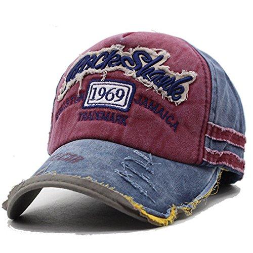 Vintage Cap (Kuyou Distressed Basecap Snapback Outdoor Baseball Kappe Mütze (Weinrot))
