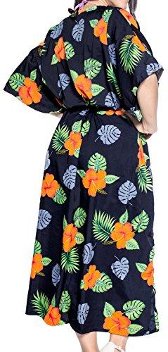 La Leela glatt likre Hibiskus langes Kleid Kaftan karibischen Strand Abend Sommer Mitternacht Schwarz
