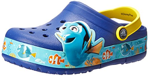 crocs CrocsLights Finding Dory Clog, Unisex-Kinder Clogs, Blau (Cerulean Blue/Lemon 4AX), 30-31 EU (C13 Unisex-Kinder UK)