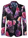 MOGU Herren Blazer Rosa Blumen Freizeit Bankett Large Size Slim Anzug DE 50(Asian 4XL) Pink