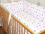 Nestchen Bettumrandung Kopfschutz Für Baby Kind - weiß mit rosa- grauen Sternen- 190cm, 360 cm, 420cm für Bett 70x140 cm, 60x120cm 360 cm