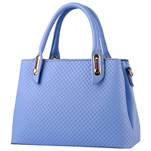 MissFox Borsa A Spalla Donna Borse A Mano Borsa Messenger Donna Vintage Cerniera Design Tote Cielo Blu