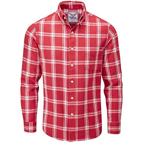 Charles Wilson Camisa Franela de Cuadros Manga Larga para Hombre (X-Large, Red & White 1)