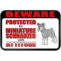 Beware protegido por Schnauzer miniatura con actitud 9x 6aluminio señal de Metal Signs Vintage señales de tráfico placas de lata Signs placa decorativa