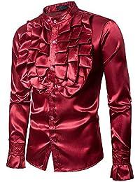 La Blusa Superior Delgada Ocasional de la Camiseta del Bordado de la Manga de los Hombres de la Moda…