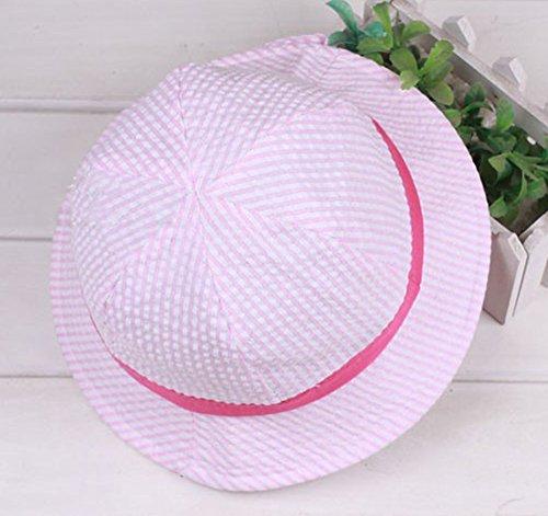 infantile pour bébé Chapeau de soleil avec sangle de menton Coton Bord protection solaire Seau Chapeau pour bébé fille garçon 12–36mois rose
