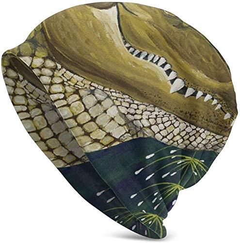 NA Unisex Beanie Caps Cartoon Charaktere Blumen Krokodil Illustration Erwachsene Comfortbale Soft Slouchy Collection Strick Hüte Skull Cap Winter Sommer Ski-Baggy Hat Schwarz -