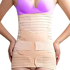 Rovtop 3 in 1 Postpartal Unterstützung Recovery Bauch Wickeln Taille Beckengürtel Body Shaper Körperformer Postnatal Shapewear