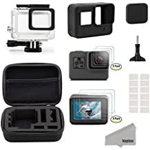 Kupton Accesorios Kit para GoPro Hero 6/5 Black, Kit de Deportes de Exterior, Kit de Iniciación: Estuche de Viaje Pequeño + Carcasa Case + Protector de Pantalla + Cubre Lente + Montura de Silicona para Go Pro Hero6/5