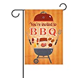 bennigiry BBQ Party Einladung Flyer Doodle Deko Welcome Colorful Mulitcolor Bright Cute Garden Flagge, Gesponnenes Polyester, multi, 28x40(in)