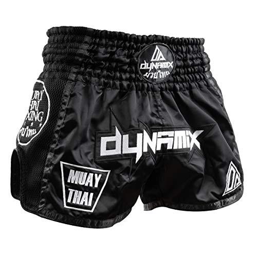 Dynamix Athletics Muay Thai Shorts Warpath - Schwarz - Premium Thai Short für Thaiboxen traditionelle Thaiboxhose für Herren mit Air-Tech-Gewebe und einzigartigen Muay Thai Stickereien (L) (Muay Shorts Thai)
