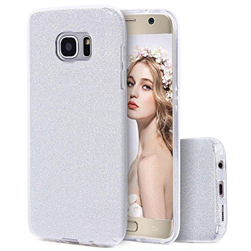 Imikoko Galaxy S7 Hülle, Glitzer Strass Hülle Handyhülle Schutzhülle [Weiche TPU Abdeckung + Glitzer Farbe Make-up-Schicht + PP innere Schicht] [DREI in Einem] Hülle für Galaxy S7 (Silber)