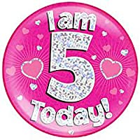 Islander Fashions Girls Boys Jumbo Birthday Party Badges Unisex Pink Blue All Ages Birthday Badge One Size Pink Dot 5 Years One Size