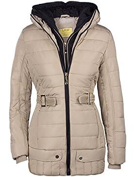 Alaska - Chaqueta larga tipo parca de invierno para mujer, 2 en 1, con capucha