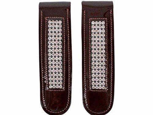 Stiefelclip Reitstiefel Accessoires Leder mit Strass-Ornamenten schwarz oder braun Braun
