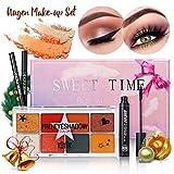 Ensemble de maquillage Complet pour les yeux de Luckyfine -1 xOmbre à Paupières, 1 xEye-liner Imperméable, 1 xMascara de Longue Durée,1 x Crayon à Sourcils Lisse, Cadeau de Noël, Saint Valentin
