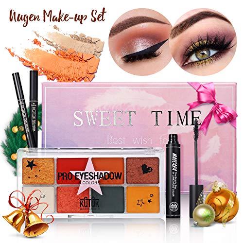 Luckyfine Augen Make-up Set, 1 Lidschatten-Palette + 1 Mascara + 1 Eyeliner + 1 Augenbrauenstift,...