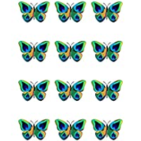 12 adornos de papel comestible con diseño de plumas de pavo real con mariposas para decoración