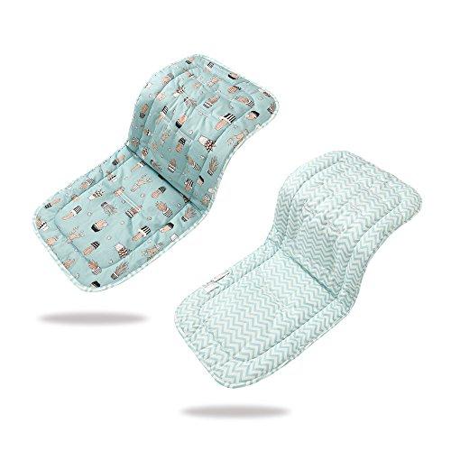 Morbido & reversibile bambino in puro cotone per passeggino o seggiolino auto per passeggino inserto portatile per il cambio, universale di passeggino dimensioni 32 x 80 cm infant cuscino pad(cactus, blu)