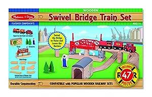Melissa & Doug 10704- trenes de juguete en madera, 47 piezas