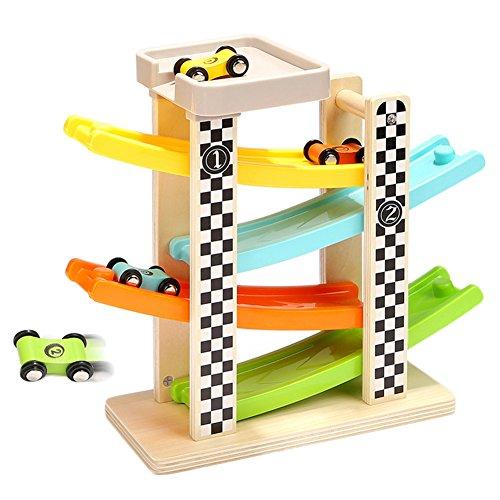 Luerme Circuit de Voiture Enfant Jouet Piste Voiture Cascade de Voiture Bois Rampe Véhicule Miniature Jouet d'éveil