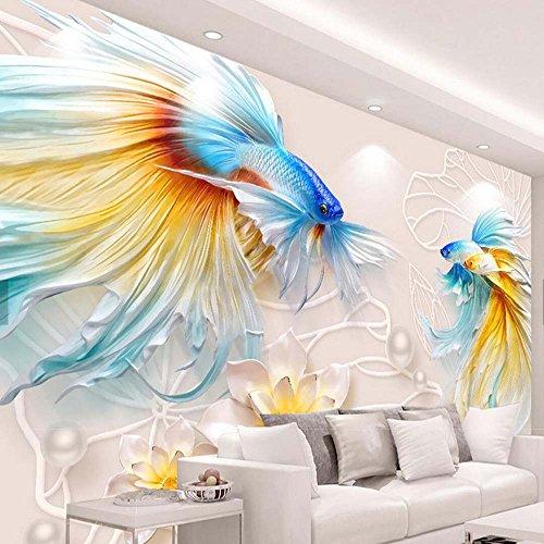 Yosot 3D-Prägung Fisch Seerose Blüte Schmuck Perlen Fototapete Wandbild Sofa Tv Hintergrund Wanddekor-300Cmx210Cm (Seerosen Fische,)